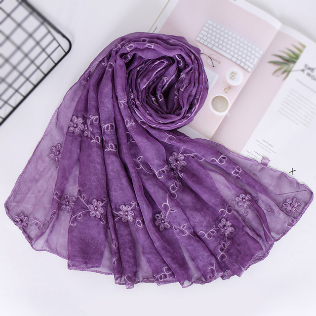 Women Embroidery Lace Flower Crinkle Hijab Shawl Scarves New Sunscreen  Pearl Bead Plain Foulard Wrap Cover 2b1f900d86e4