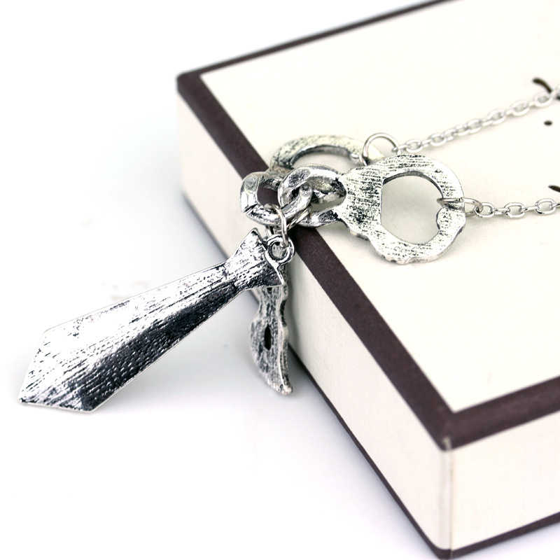 Hot 50 Fifty Shades of Grey Darker Freed Christian Charm Necklace Handcuffs Masquerade Mask Necktie Chain Pendant Necklace Gifts