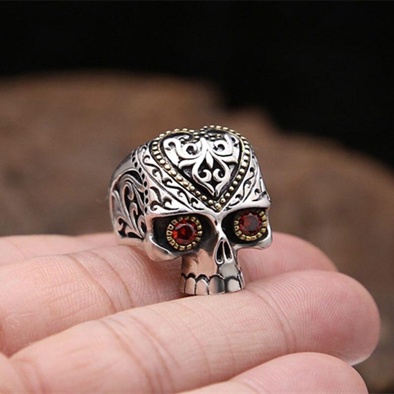 Argent massif 925 anneaux de crâne de sucre hommes femmes avec pierre rouge Chunky large bande à la main 925 en argent Sterling gothique Biker bijoux