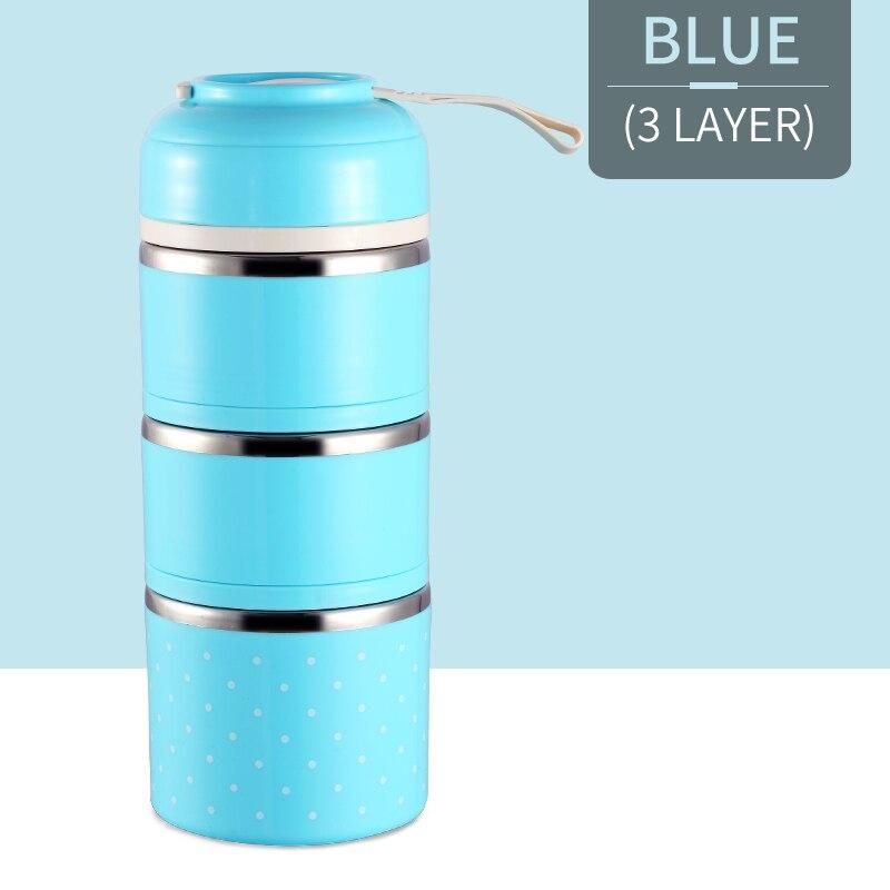 Милые детские Термальность Коробки для обедов герметичность Нержавеющая сталь Bento box для детей Портативный Пикник школа Еда контейнер Box - Цвет: Blue 3 Layer