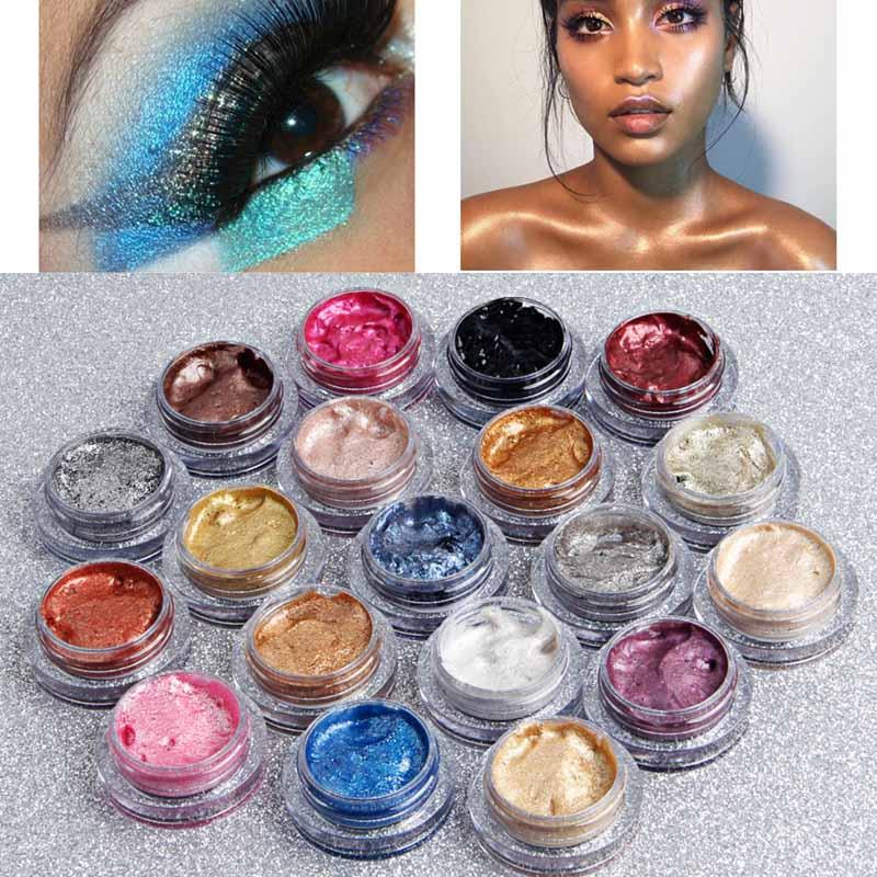 Qibest Glitter 25Color Single Eyeshadow Cream Waterproof Long Lasts Pigment Shimmer Metallic Eye Shadow Palette Korean Cosmetics