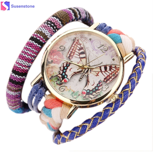 Watch 2016 Classic dress watch Round Butterfly Women Weave Wound Wrap Quartz Wat