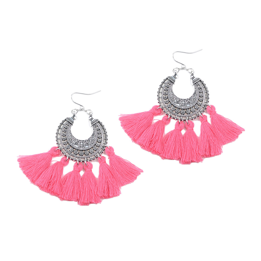 zheFanku Bohemian Tassels Earrings Lady Handmade