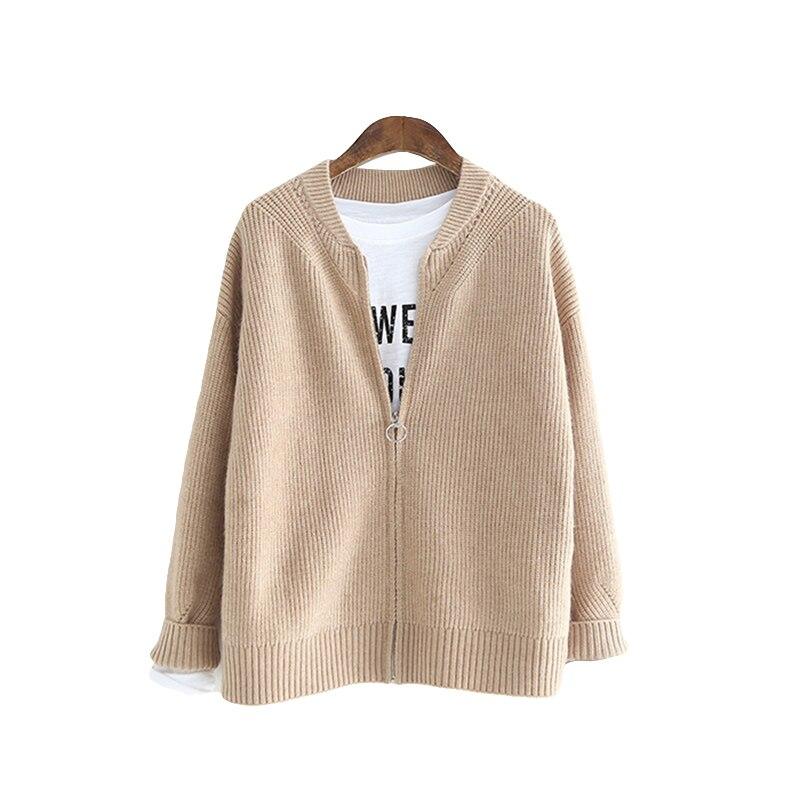 Spring Cardigan Women Korean O-Neck Knitted Cardigan Feminino Ladies Long Sleeve Loose Zipper Cardigan Coat Female 2018 Hot Sale