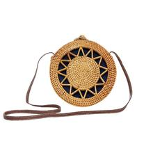 Womens Fashionable Bohemian Style Handmade Rattan Bag Round Leather Buckle Beach Vintage Straw Woven Storage