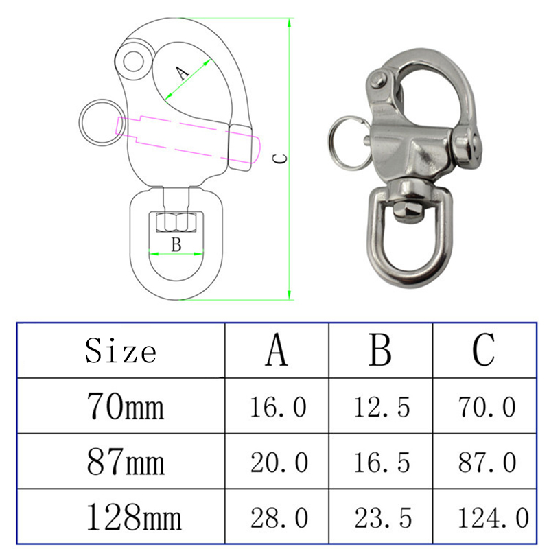 Image 5 - HCSSZP 316 Stainless Steel Swivel Shackle Quick Release Boat Anchor Chain Eye Shackle Swivel Snap Hook for Marine Architectural-in Marine Hardware from Automobiles & Motorcycles