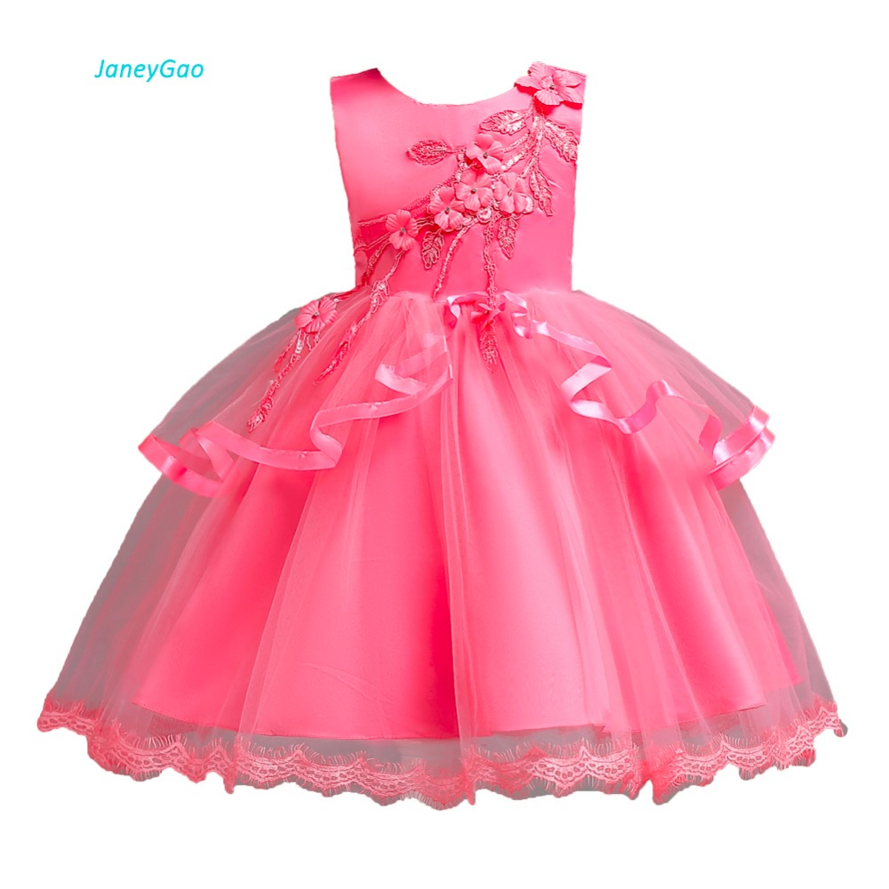 JaneyGao   Flower     Girl     Dresses   For Wedding Party Elegant Little   Girl   Formal Gown 2019 New Fashion Cute   Girl   First Communion   Dress