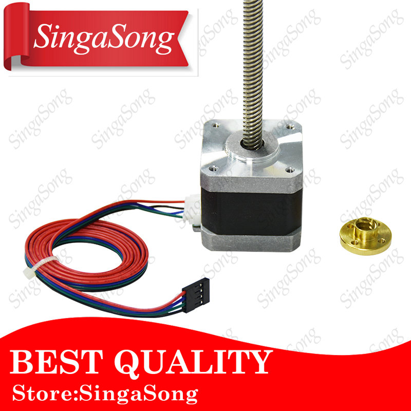 Usongshine Nema17 stepper motor with T8 screw lead 8mm 400mm 42 motor 42BYGH 3D Printer motor with screw 17HS4401 for 3d printer цена