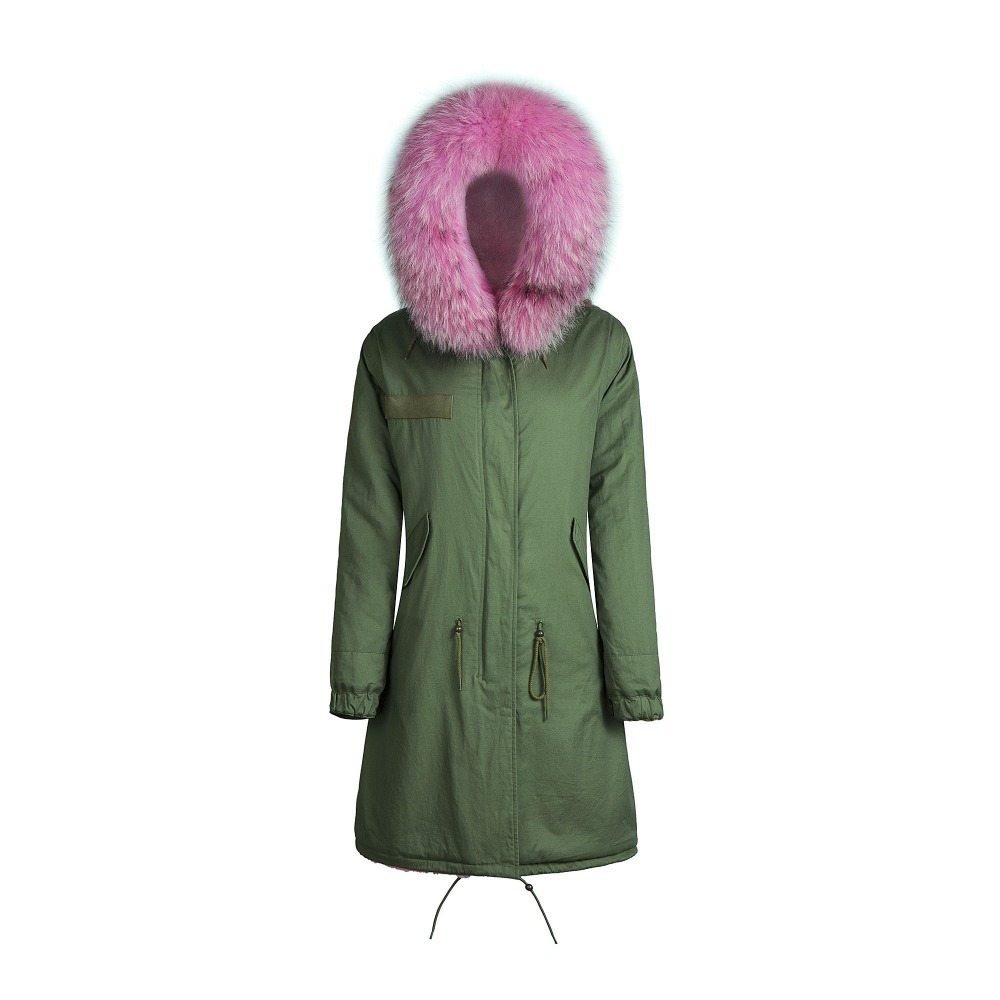 New Fashion Women Winter Super Long Coat fur collar Hooded Parka ...