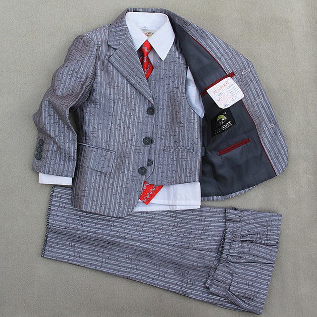 Boys Tuxedo Suits Silver Prom Suits Kids Clothes Page boy Suits ...