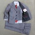 Niños de plata Page boy juego de la Boda Niños alquiler de Esmoquin Trajes Chaqueta chaleco y Pantalón 3 unids Blazer juego para Niños ropa formal