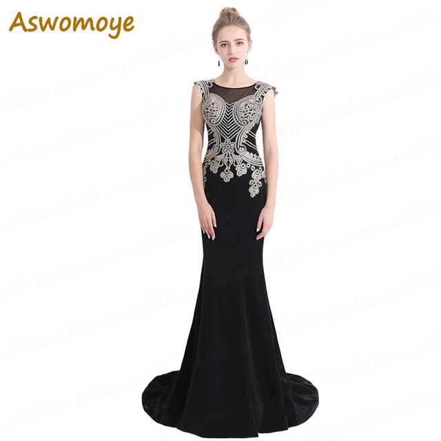 31c450640 Aswomoye sirena negro vestido de noche 2018 Appliques Bordado vestido de fiesta  Illusion prom tamaño vestido