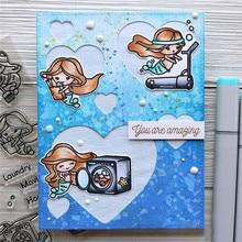 Naifumodo Cute Mermaid Stamps and Dies Scrapbooking Party Words for Card Making Album Embossing Crafts Die Seal New Arrival 2019
