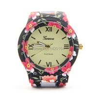 Alibaba אקספרס פופולרי ליידי ז 'נבה שעון אופנת הדפסת פרח