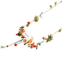 Warmhome Jewelry Enamel Glaze Copper Trendy Four Owl Bird Pine Branches Flower Gem For Women Necklaces