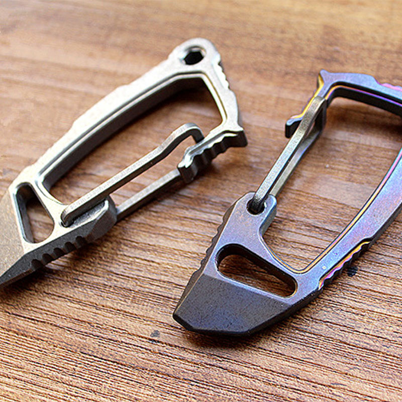 1PC Carabiners Buckles Titanium Alloy EDC Defense Keychain Fast Buckle Crowbar Opener Multi Tool Accessories Camping