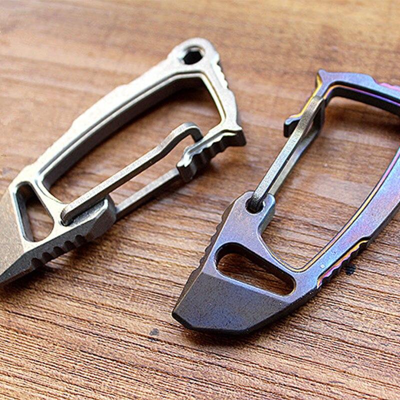1 PC mousquetons boucles alliage titane EDC défense porte-clés rapide boucle pied-de-biche accessoires multi-outils équipement de Camping