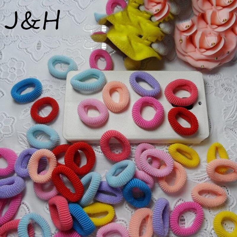 100 шт./лот Высокое качество для девочек эластичные резинки для волос Цветные волосы веревка галстук десен резиновая группы хвост держатель аксессуары для волос
