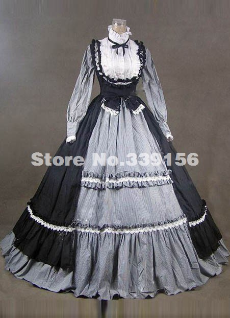 New Elegant Black Long Sleeves Vintage Gothic Victorian Dress Civil War Southern Belle Ball Gowns,Halloween Party Dresses