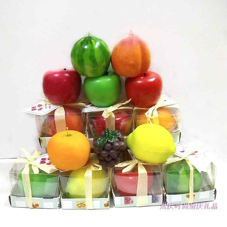 Home Decor Candles Simulation Creative Birthday Colorful Apple watermelon lemon grape Fruit Candle