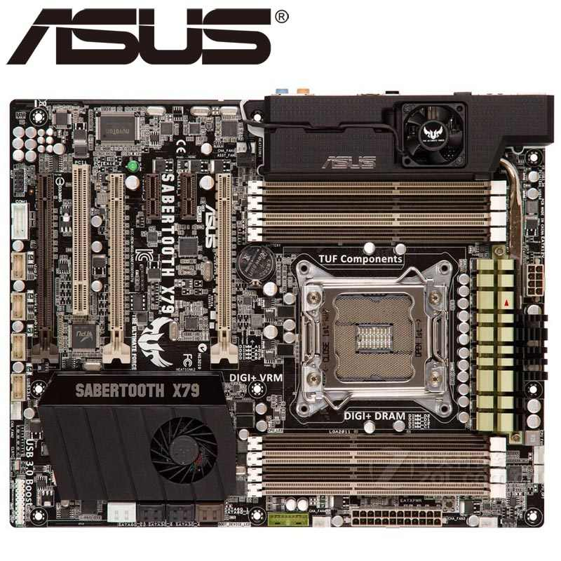 Asus SABERTOOTH X79 Desktop Motherboard X79 Socket LGA 2011 Core i7 DDR3 64G ATX UEFI BIOS Original Used Mainboard On Sale