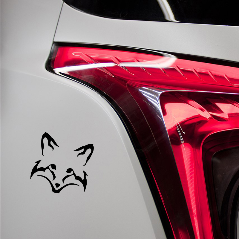 13.5*13.5cm Cute Fox Face Head Car Sticker Vinyl Decal Animal Black/White Car Body Window Decoration for Abarth Mercedes Benz image