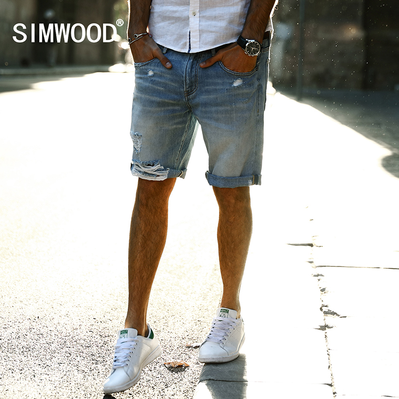 SIMWOOD 2017 Autumn New Casual Denim Shorts Men Jeans 100 Pure Cotton Hole Ripped Brand Clothing