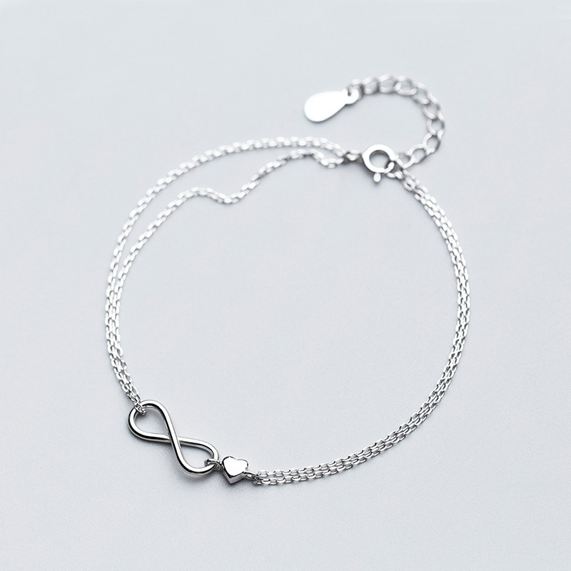 MloveAcc Authentic 925 Sterling Silver Endless Lover Infinity Chain Link Adjustable Women