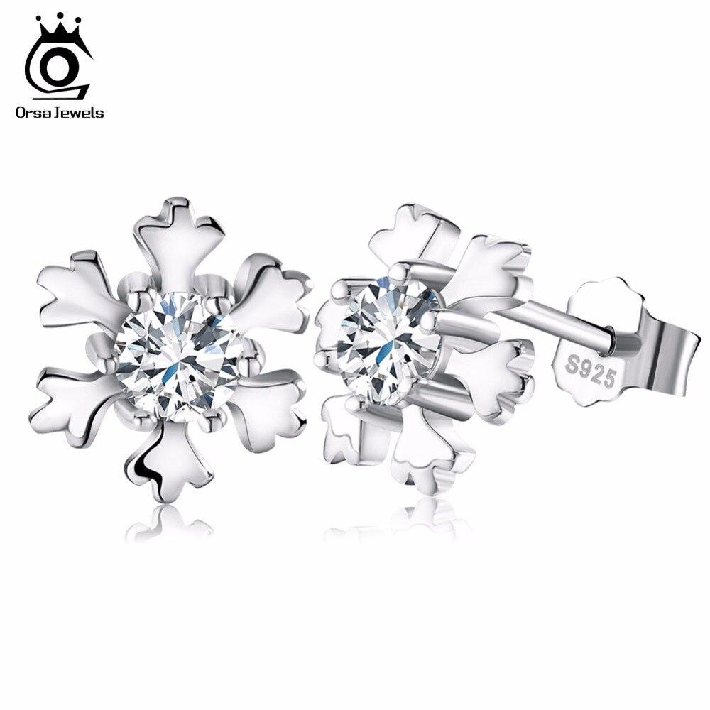 Orsa jewels genuino 925 plata esterlina del copo de nieve pendiente espárragos c