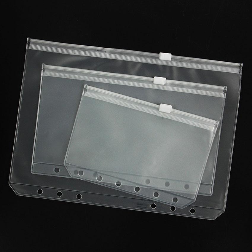 3PCS/set A5 A6 A7 PVC Presentation Binder Folder Zipper Receive Bag Concise Planner Spiral Filing Products Holder Bag