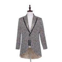 Новый мужской костюм Куртка Блейзер Hi Lo один Пуговицы жениха Смокинги для женихов цветочный узор куртка сценические костюмы куртка цельнок