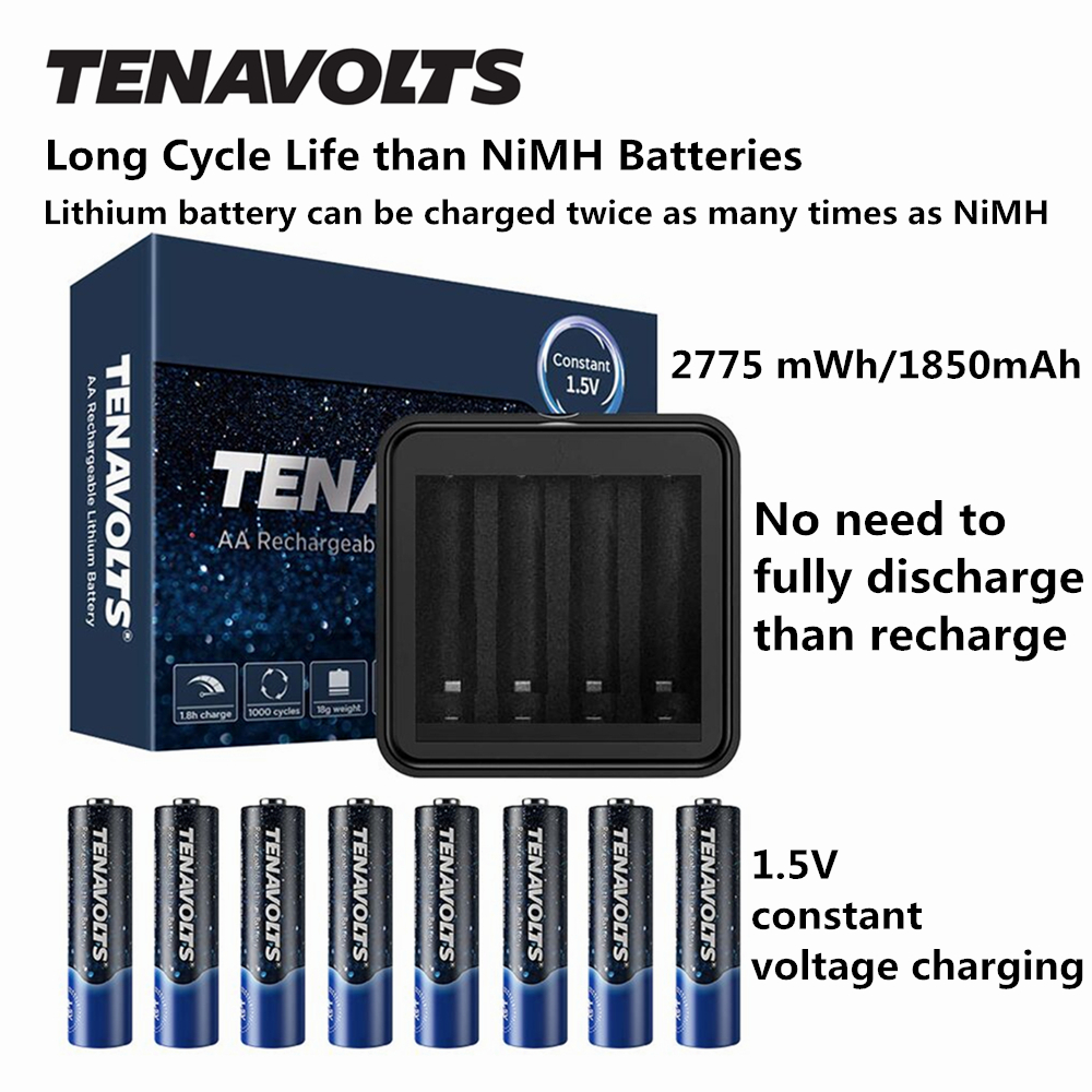 NANFU 8 Pcs Set TENAVOLTS AA Rechargeable Battery with Battery Charger 2775 mWh Lithium Li ion Pre charged 2Abatteries 1 5V RU in Rechargeable Batteries from Consumer Electronics