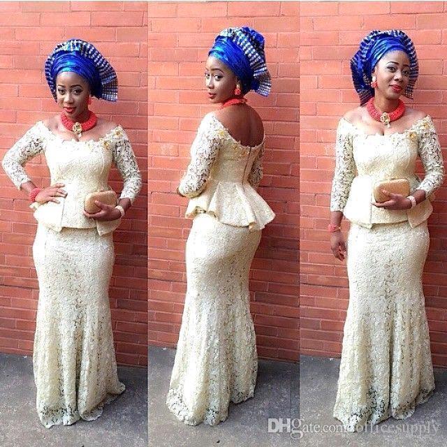 de encaje vestidos de noche de la sirena nigeria estilos moda ropa formal barato vestidos