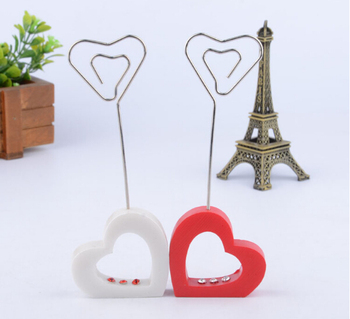 20pcs Red&White Hollow Heart Number Menu Table Place Card Holder Clip Wedding Party Reception Favor