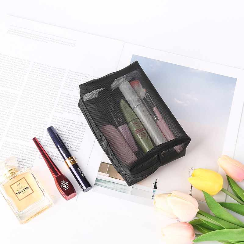 3 個セットパッキングキューブ透明メッシュ女性化粧品収納袋ポータブル旅行 bagorganizer ファッション化粧ケースバッグ