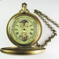 Old 100 Brass Antique Double Cover Mechanical Pocket Watch