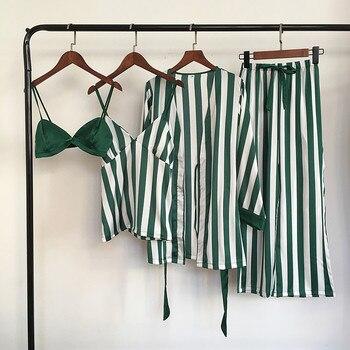 Lisacmvpnel 4 Pcs Striped  Women Pajama Sets Nightdress
