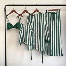 Lisacmvpnel 4 Pcs Striped Sexy Women Pajama Sets Nightdress+Bra+Robe+Pant Female Pajamas