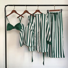 Lisacmvpnel 4 pçs listrado sexy conjuntos de pijama feminino camisola + sutiã + robe calças pijamas femininos