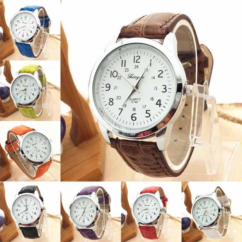 Hot Sale Elegant Femme Womens Watches Analog Luxury Sports Leather Strap Love's Quartz Clock Mens Wrist Watch Zegarek Damski *A