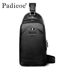 Padieoe Luxury Brand Men Check Bag Genuine Leather One Shoulder Crossbody Business Male Shoulder Messenger Bags