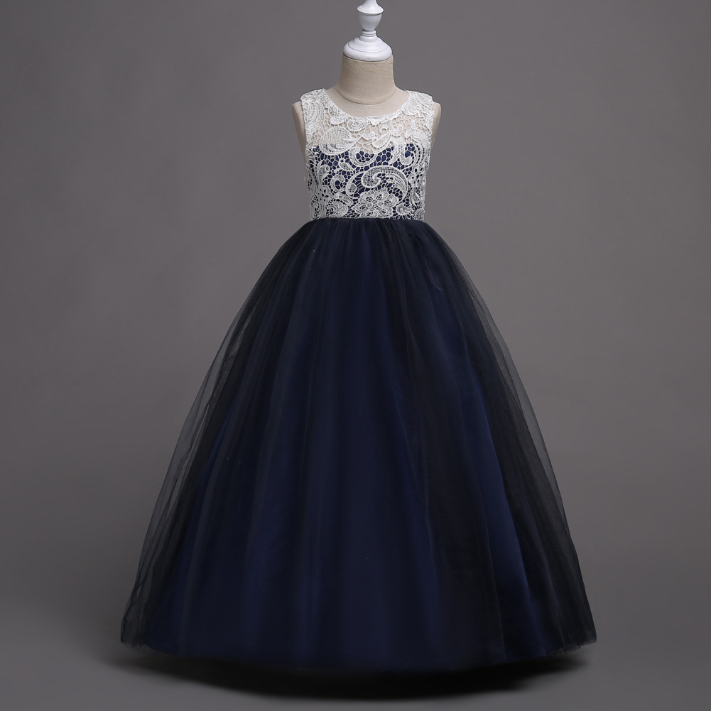Elegant Patchwork Party Kids Ball Gown   Girl  -  dresses  -for-weddings White and Navy Blue   Flower     Girl     Dresses   for Events for Children
