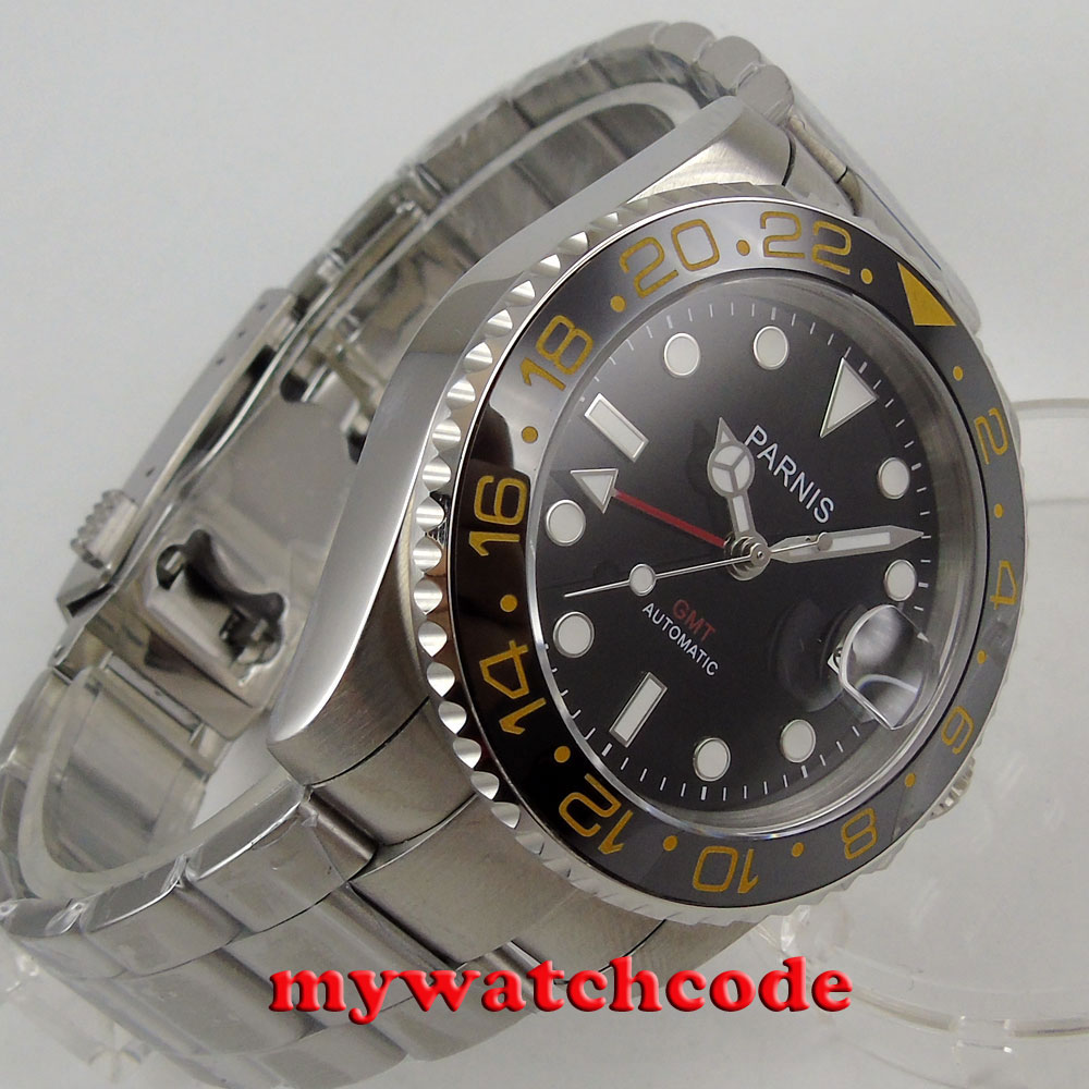 лучшая цена 40mm Parnis black dial GMT Sapphire glass Ceramic bezel automatic mens watch PA819