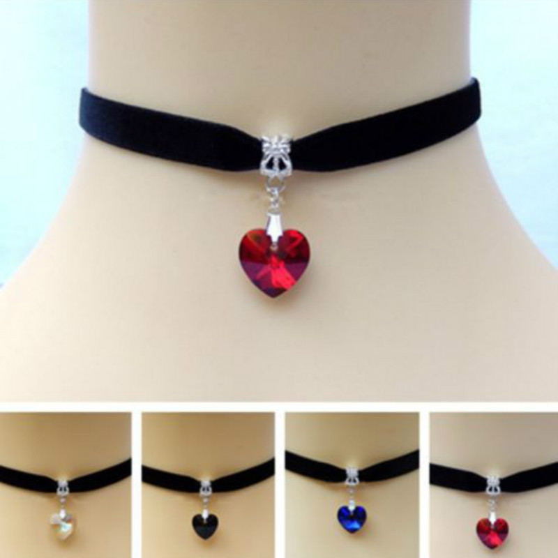 Heart Crystal Victorian Choker Necklace Goth Vintage