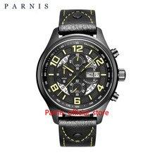 Top Brand Quartz Watch Men Parnis 43mm Date Week Luminous 30M Waterproof Chronograph Quartz Men's Wrist Watches Black Rose Gold