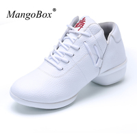 MangoBox Female Dance Shoes Lace Up Dancing Sport Shoes White Red Female Dance Sneaker Light Weight Gym Shoes Women
