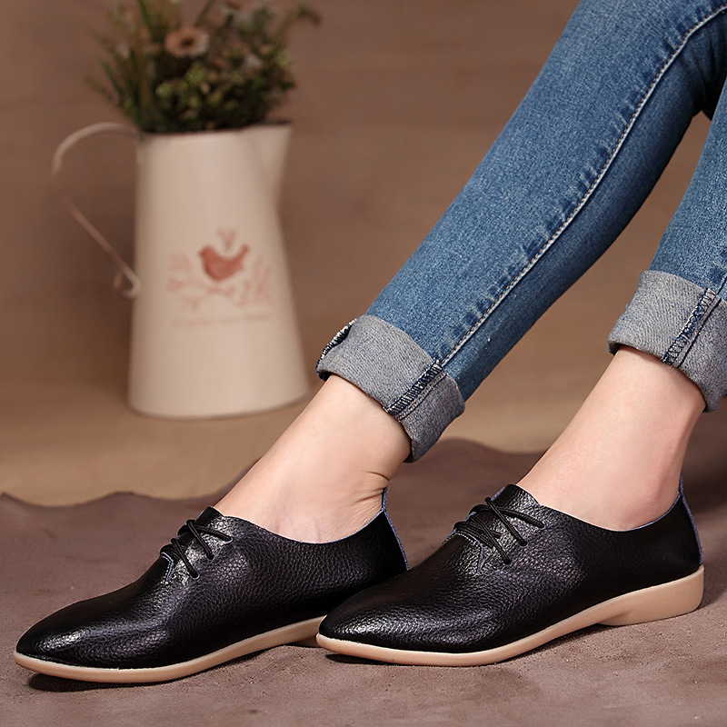 Women 39 s Fashion Pointed Toe Flat Shoes Casual Leisure Shoes Genuine Leather Lace Up Flats for Ladies in Women 39 s Flats from Shoes