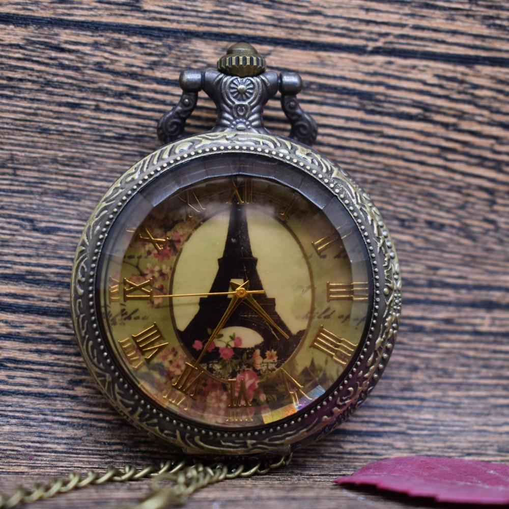 Pocket & Fob Watches Brown Glass Antique Eiffel Tower Rome Number Quartz Pocket Watch Necklace Pendant Womens Mens Clock