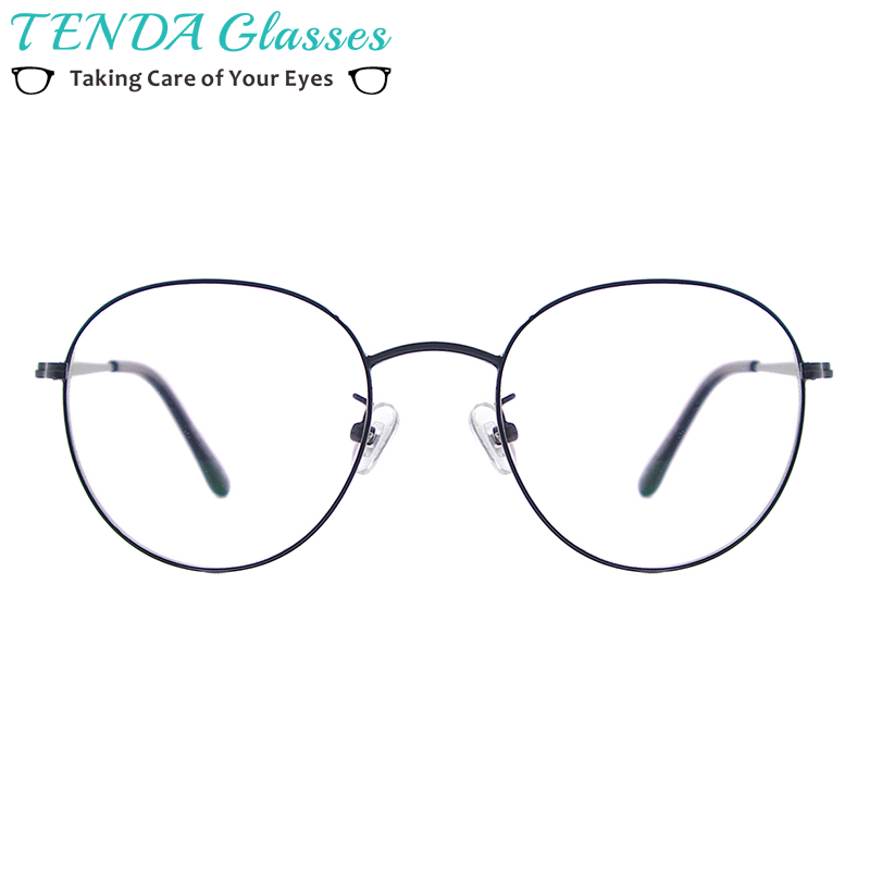 Men and Women Metal Small Vintage Prescription Eyewear Frame Black Round Glasses For Multifocal Myopia Reading Lenses-in Men's Eyewear Frames from Apparel Accessories