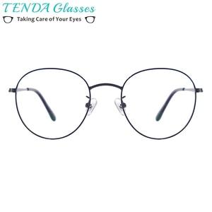 Image 2 - Men and Women Metal Small Vintage Prescription Eyewear Frame Black Round Glasses For Multifocal Myopia Reading Lenses